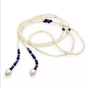 Jewelry - 14k Gld Tanzanite, Amethyst, Pearl Lariat Necklace